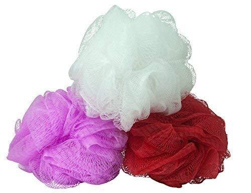 3 x Badeschwamm, Duschschwamm, Badeknäul zum Einseifen aus Nylon in rot, rosa und weiß mit Kordel zum Aufhängen