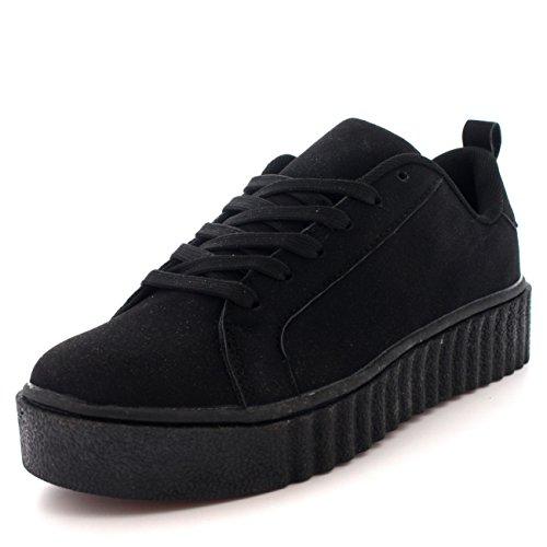 Mujer Fornido Creepers Plataforma Ata para Arriba Zapatillas Zapatos Entrenadores - Negro - UK8/EU41 - BS0131