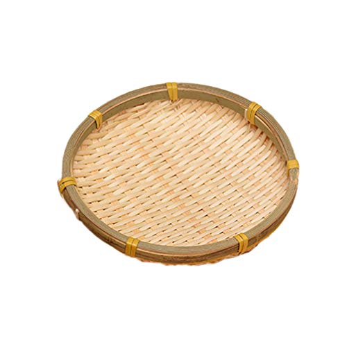 UPKOCH Bamboo Woven Round Basket Tray Rustic Wood Decorative Serving Tray for Breakfast Drinks Snack Coffee Table Wall Hanging Home Decoration 13cm