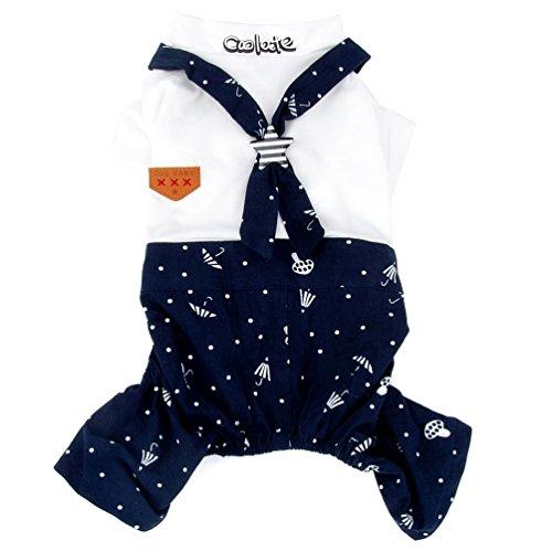 smalllee_lucky_store Matrosen-Kostüm für kleine Hunde, Jungen, Mädchen, passende Outfits, bedruckt, Welpen-Kleidung, Jumpsuit, Größe XL
