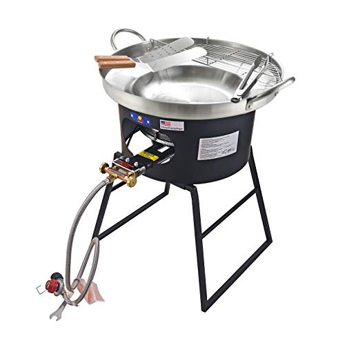 ARC, 23' Heavy Duty Stainless Steel Concave Comal Set with 80,000BTU Propane Burner Stove and Burner Stand, Discada Disc Cooker, Great for Backyard and Outdoor Cooking