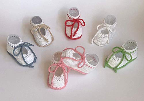 Patucos de ganchillo, hechos a mano, para bebés, de 0-3 meses y de 3-6 meses. Temporada Primavera-Verano. 100% Algodón orgánico.