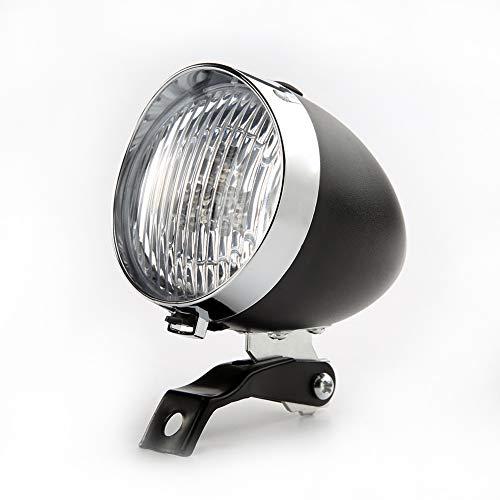 scatkinPYwl - Fanale anteriore per bicicletta, 3 LED, 2 modalità, stile vintage, Uomo, Nero , Taglia unica