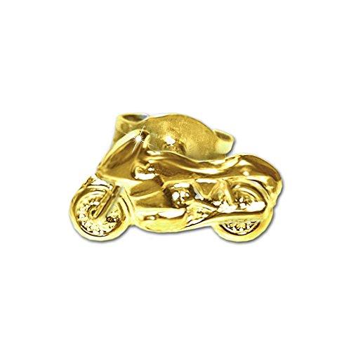 Clever Schmuck Goldener einzelner Single Ohrring als Ohrstecker Motorrad schlicht 9 x 5 mm glänzend 333 GOLD 8 KARAT Lieferung von 1 Stück