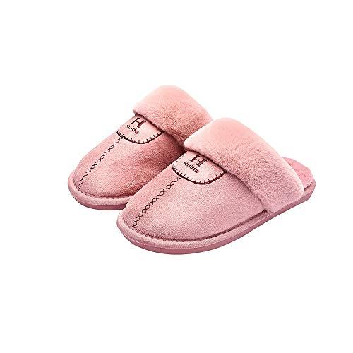 LRHD Invierno cálido algodón zapatillas, resistentes al desgaste tela del ante + Forro de felpa, antideslizante TPR Sole espesado, calzado de interior y al aire libre de algodón for estudiantes y Dama