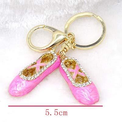 BYBDYSK Mode Schlüsselbund Pink Pearl Paint Ballettschuhe Schlüsselanhänger Dreidimensionale Legierung Strass Tasche Anhänger Kleiner Schmuck 12 cm Fotofarbe