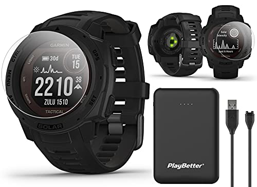 Garmin Instinct Solar Tactical (Black) GPS Outdoor Watch Power Bundle | Includes PlayBetter Power Bank Charger & HD Screen Protectors | Hiking Military Watch | Dual GPS, Solar Charging | 010-02293-13