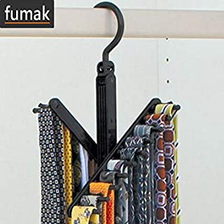 fumak Belt Racks - 360 Degree Rotating Folding Rack 20 Tie Closet Organizer Neck Ties Necktie Belt Scarves Clothing Holder Hanger
