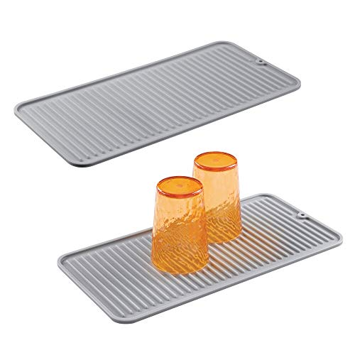mDesign Silicone Dish Drying Mat and Protector for Kitchen Countertops, Sinks - Ribbed Design - Raised Edges, Non-Slip, Waterproof, Heat Resistant, Dishwasher Safe - Small - 2 Pack - Gray