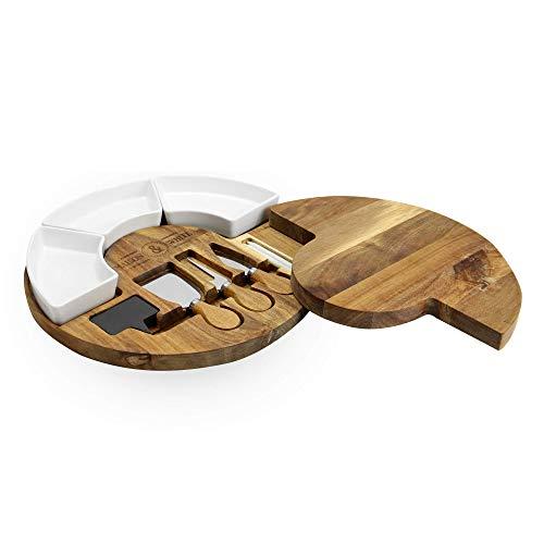 Tagliere per formaggi rotondo in acacia | Ciotole e vassoio da portata in porcellana ceramica | Tagliere da formaggio in legno per carne e formaggio | M&W
