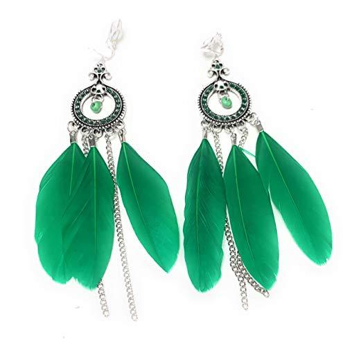 Pendientes de vela de plumas verdes con cierre de clip, estilo bohemio, con borla tribal