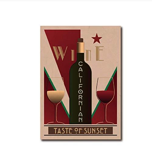 YXFAN Cartel Vintage de vino californiano Bar pared arte imagen decoración carteles restaurante cocina decoración del hogar lienzo pintura-40x60cm sin marco