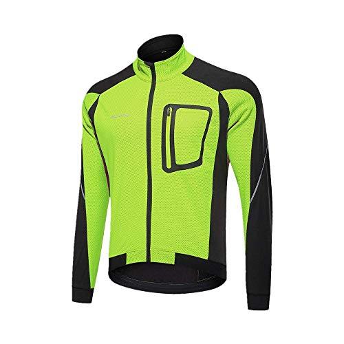 Veste D'équitation De Vélo Coupe-Vent pour Hommes Et Femmes d'automne Et d'hiver, Veste Polaire Chaude, Combinaison De Pluie (Vert,L)