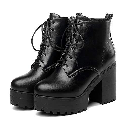 cynllio Damen Fashion Chunky High Heels Plateau Combat Ankle Booties Wasserdicht Leder Glitzer Kleid Schnüren Kurze Stiefel, Schwarz - Schwarz - Größe: 37 EU
