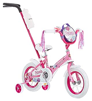 Schwinn Petunia Steerable Kids Bike Girls Beginner Bicycle 12-Inch Wheels Training Wheels Easily Removed Parent Push Handle with Water Bottle Holder Pink