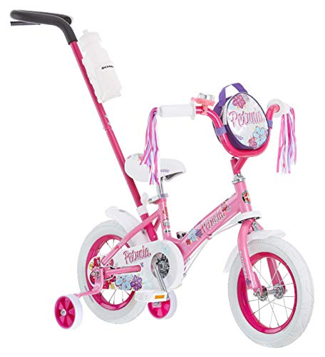 Schwinn Petunia Steerable Kids Bike, Girls Beginner Bicycle, 12-Inch Wheels, Training Wheels, Easily Removed Parent Push Handle with Water Bottle Holder, Pink