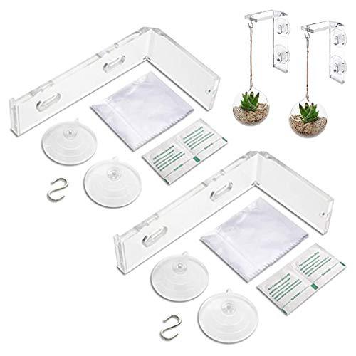 lijun 2er-Pack Saugnapf Fensterhalter - Pflanzen drinnen oder draußen aufhängen, praktisch
