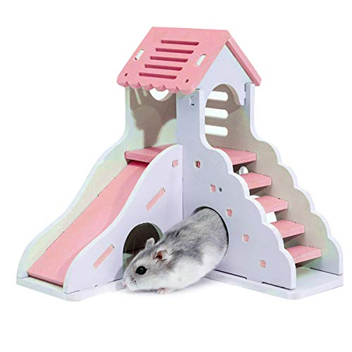 Hamsterhaus mit zwei Etagen, kleines Haus für Haustiere, Villa für Hütten-Hammer, für Tiere, Spielhaus für Haustiere, mit Treppenrutsche (Rosa)