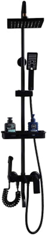 All-Copper Schwarz Dusche Duschset Handbrause Set Lifting & Booster Dusche Multifunktional Einfache Duschkopf Duschset Lift-Typ Supercharger Dusche Multifunktion Dusche L1JQ21HS