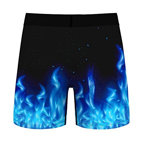 Yeahdor Herren Boxershorts Satin Boxer Unterwäsche Locker Shorts Unterhose mit Drachen/Rhombus-Muster Schlafanzughose Loungewear Blau B XL