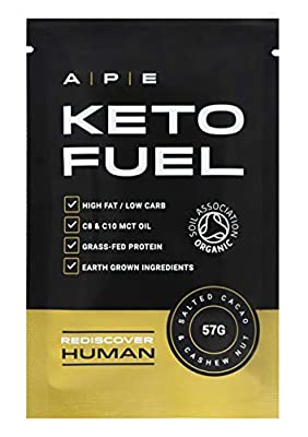 Keto Fuel (5 x 57g) | Keto Bar | Ketogenic Protein Bars | Keto Diet Meal | Organic Real Food Ingredients | Grass-fed Whey | Boosts Ketone Levels | Coconut C8 MCT Oil | Cacao & Cashew Nut Flavour (5)