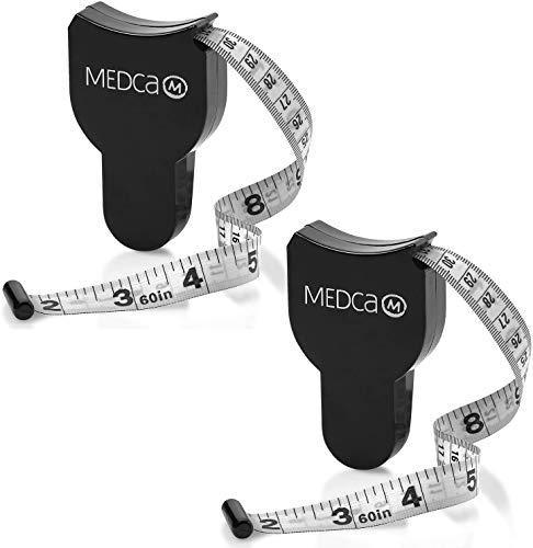 Cinta métrica para el cuerpo: (paquete de 2) Cintas de medición para monitores de peso corporal y de grasa, (pulgadas y cm) Cinta métrica retráctil para grasa corporal