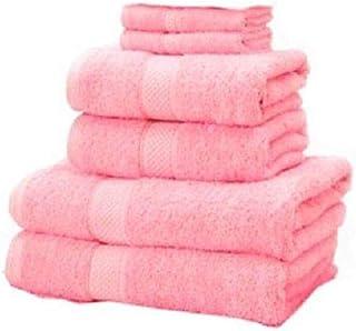Indigo 2724710816925 Cotton Solid Pattern Towels Set, Pink, 54.2 cm x 20.6 cm x 24.8 cm