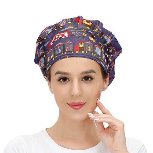 Gorra de trabajo con banda para el sudor, diseño de payaso de circo, elástico, ajustable, gorras de trabajo para mujer y hombre, talla única, bufanda para la cabeza, multicolor