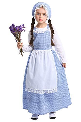 Tollstore Kinder viktorianischen Maid Kostüm, Mädchen Viktorianisch Bauer Dienstmagd büchertag Kostüm Kleid mit Schürze und Mütze L