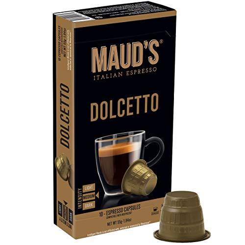 italian coffees Maud's Dolcetto Espresso Capsules 50ct.,100% Hand-Crafted Arabica Coffee Exotic Italian Espresso Capsules, Single Serve Medium Roast Coffee Espresso Pods, Original Machine Nespresso Compatible