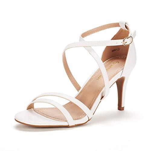 DREAM PAIRS Women's Gigi White Pu Fashion Stilettos Open Toe Pump Heeled Sandals Size 9.5 B(M) US