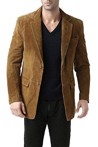 BGSD Men's Cliff 2-Button Suede Leather Blazer Tobacco X-Large