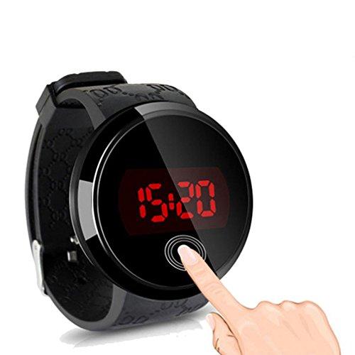 Fenkoo Herren Armbanduhr digital LED / Touchscreen / Wasserdicht Silikon Band Schwarz Marke-