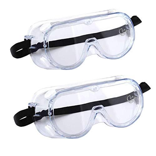 Beetest ES Gafas Proteccion, Gafas de Seguridad Antivaho, Gafas Protectoras Trabajo, 2 Piezas de Gafas de Laboratorio Quimica Cubregafas Protectoras para Laboratorio, Agricultura, Industria