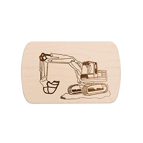 Brink Holzspielzeug Frühstücksbrettchen Frühstücksbrett Bagger mit kostenloser Gravur Vesper Holz Namen Brett neu