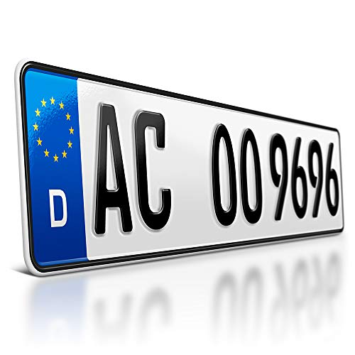 schildEVO 1 Kfz Kennzeichen | 520 x 110 mm | DIN-Zertifiziert – individuelles EU Wunschkennzeichen | PKW Nummernschild | Autokennzeichen | Auto-Schild | Fahrradträger & Anhänger | DHL-Versand