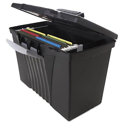 - portátil Archivo Caja de almacenamiento w/organizador tapa, carta/Legal, Negro