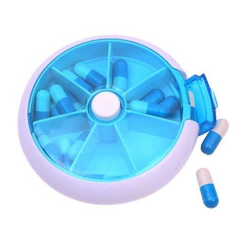 Cyrox Round Portable Pill Box | Medicine Storage Box Pill Organizer |7 Compartment Medicine Tablet Case Storage Dispenser Holder (1)