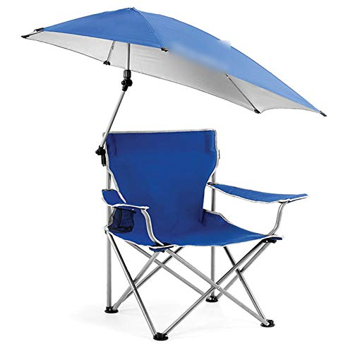 OMVOVSO Silla De Camping Plegable con Dosel, Silla De Sombrilla Portátil Liviana con Silla De Asiento De Taza Al Aire Libre para Caminatas Jardín Pesca Playa,Azul