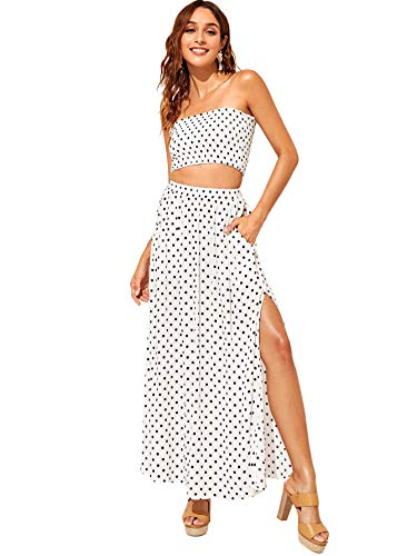 Floerns Women's 2 Piece Outfit Polka Dots Crop Top and Long Skirt Set with Pockets White S