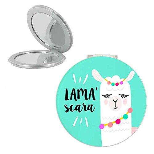 Les Trésors De Lily [Q0864] - Miroir de poche 'Lama Mania' vert (Lama'scara) - 6 cm