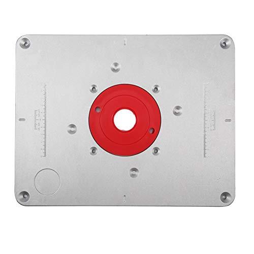 FTVOGUE Astyer Alluminio Router Piastra di Inserimento della tavola del Router con 4 Anelli e Viti per panche per la Lavorazione del Legno 300 * 235 * 9.5mm (01)
