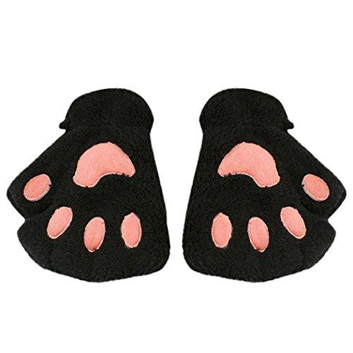 Fingerlose Handschuhe Hirolan Kinderbekleidung Winterhandschuhe Katzenkrallen Lammfell Fäustlinge Plüsch Fingerhandschuhe Mode Mädchen Mitten Wollhandschuhe PU Lederhandschuhe (Schwarz, 15X10cm)