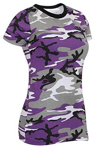 Rothco Womens Long Length Camo T-Shirt, Ultra Violet Camo, XL