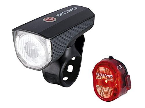 Sigma Sport LED Fahrradbeleuchtung Set AURA 40 USB / NUGGET II, 40 LUX, Frontlicht und Rücklicht, Akku, wiederaufladbar, StVZO zugelassen, wasserdicht