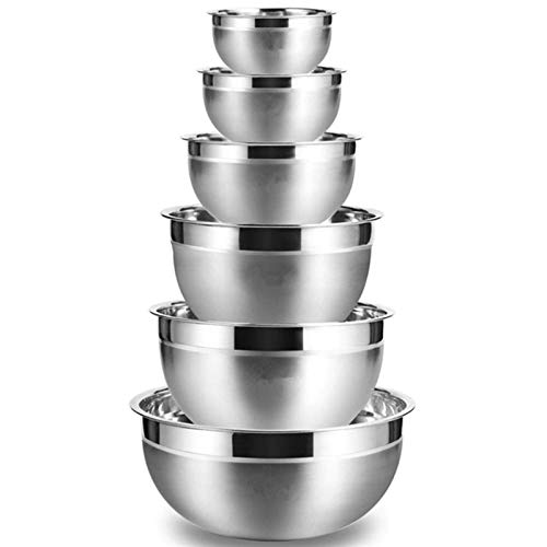 LSLY Set of 6 Silver Stainless Steel Mixing Bowl Fruit Salad Bowl Storage Bowl Set Kitchen Salad Bowl Safe and Reliable
