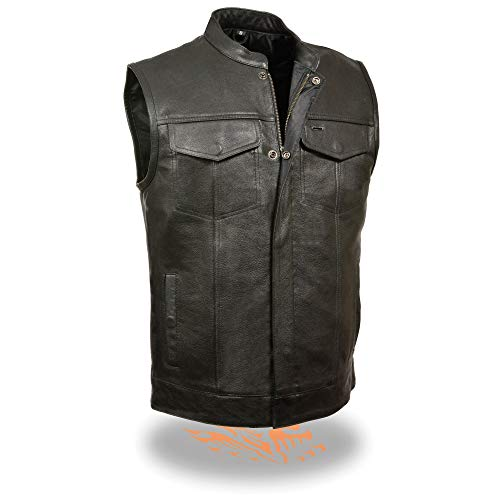 Milwaukee Leather LKM3710 Men's Black Club Style Leather Vest with Open Neck and Gun Pockets - X-Large