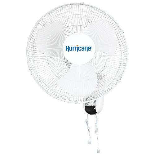 Hurricane HGC736503 Wall Mount Fan 16 Inch, Classic Series, 90 Degree Oscillation 3 Speed Settings, Adjustable Tilt-ETL Listed, 16', White