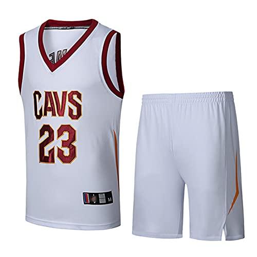 TYUK Cleveland Cavaliers # 23 Hombres Lebron James, Ropa de Baloncesto, Letras Bordadas, Camisetas Ultra-Delgadas y Transpirables, Familia White-M