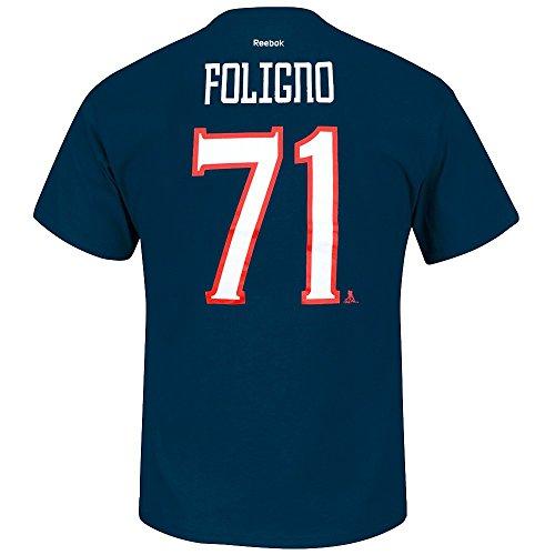 Reebok Nick Foligno Columbus Blue Jackets NHL Men Navy Blue Player Name & Number Jersey T-Shirt (M)